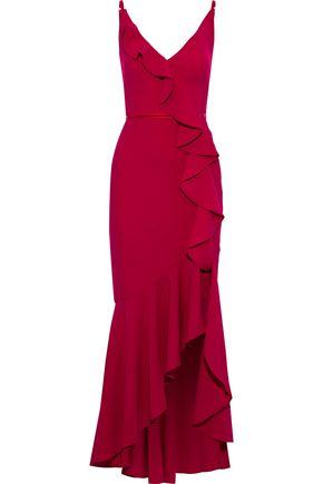 MARCHESA NOTTE Velvet-trimmed ruffled cady gown