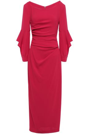 TALBOT RUNHOF Draped cutout crepe midi dress
