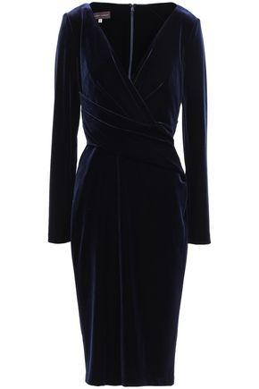 TALBOT RUNHOF Wrap-effect velvet dress