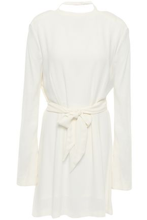 LES HÉROÏNES by VANESSA COCCHIARO Cutout tie-front gathered crepe mini dress