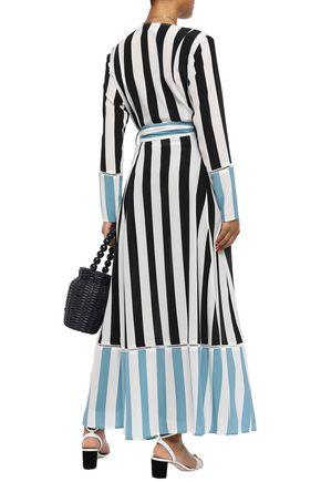 WE ARE LEONE Striped silk crepe de chine robe