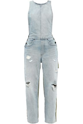 ALEXANDER WANG Distressed denim overalls