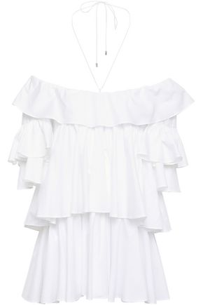 TOME Off-the-shoulder tiered ruffled cotton-poplin blouse