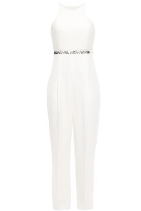 ROBERTO CAVALLI Strapless embellished silk crepe de chine-paneled twill jumpsuit