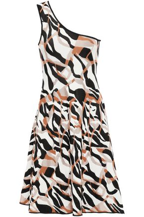 ROBERTO CAVALLI One-shoulder jacquard-knit mini dress