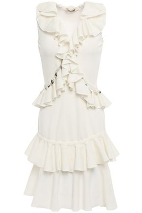 ROBERTO CAVALLI Ruffled embellished cotton-blend mini dress