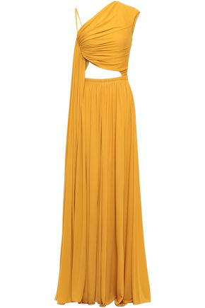 ROBERTO CAVALLI Cutout draped stretch-jersey gown