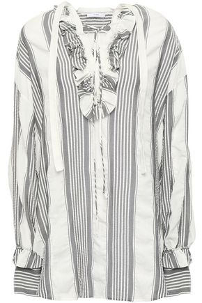 TOME Lace-up striped gauze tunic