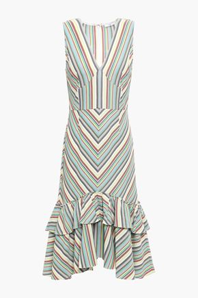 TOME Tiered striped cotton-piqué dress