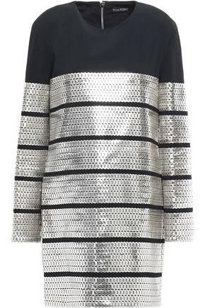 TOM FORD Metallic leather-appliquéd cady mini dress