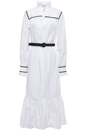 ALEXACHUNG Belted cotton-seersucker midi dress