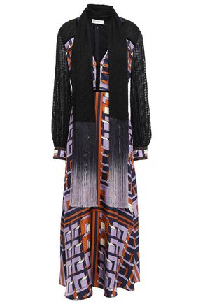 AMANDA WAKELEY Draped fil coupé-paneled silk-twill maxi dress