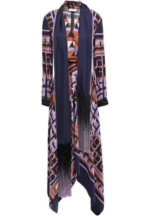 AMANDA WAKELEY Draped fringe-trimmed silk-twill dress
