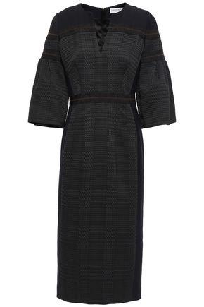 AMANDA WAKELEY Cady-paneled grosgrain-trimmed houndstooth jacquard midi dress