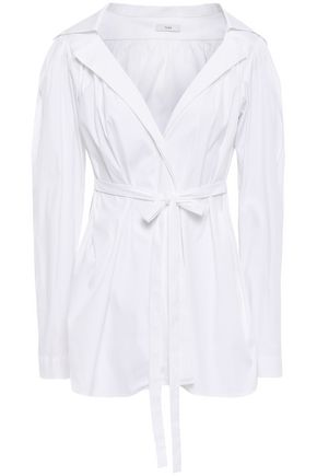 TOME Belted stretch cotton-poplin shirt