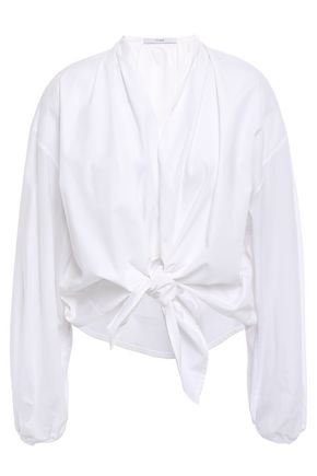 TOME Knotted cotton-poplin shirt