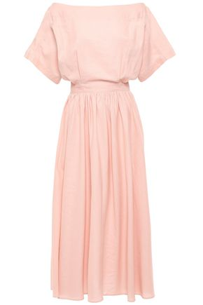 TOME Off-the-shoulder cutout cotton and linen-blend midi dress
