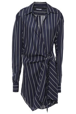 TOME Striped chiffon wrap dress