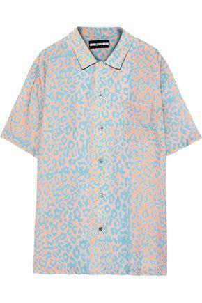 DOUBLE RAINBOUU Oversized leopard-print voile shirt