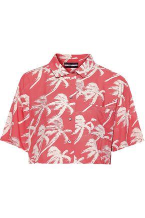 DOUBLE RAINBOUU Blowout cropped poplin shirt