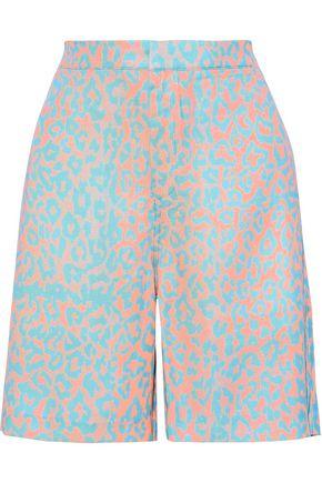 DOUBLE RAINBOUU Leopard-print twill shorts