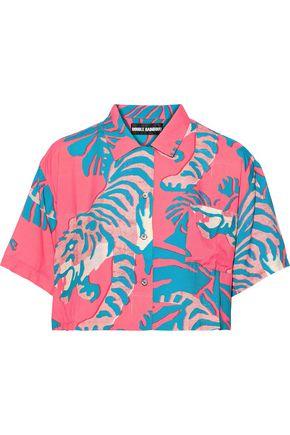DOUBLE RAINBOUU Night Crawler cropped poplin shirt