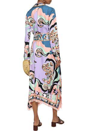 EMILIO PUCCI Belted printed silk-twill midi shirt dress