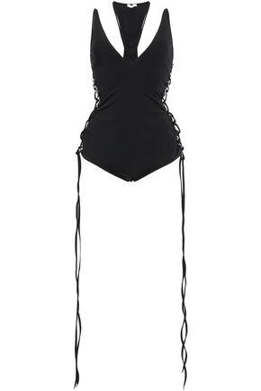 MUGLER Lace-up stretch-jersey bodysuit