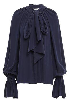 MUGLER Tie-neck silk crepe de chine blouse
