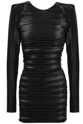 MUGLER Metallic plissé-jersey top