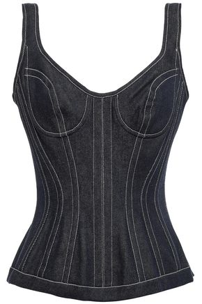 MUGLER Embellished denim bustier top