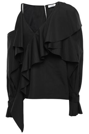 MUGLER Cold-shoulder ruffled cotton-poplin blouse