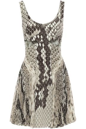 ROBERTO CAVALLI Cutout jersey and silk-chiffon mini dress