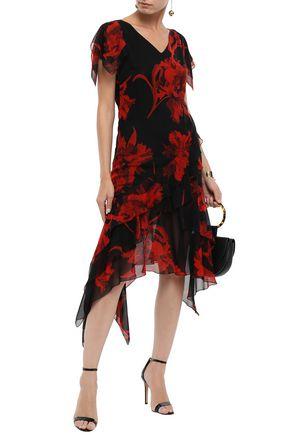 ROBERTO CAVALLI Asymmetric ruffled floral-print silk-chiffon dress