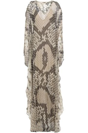 ROBERTO CAVALLI Cold-shoulder embellished silk-chiffon maxi dress