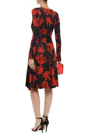 ROBERTO CAVALLI Wrap-effect floral-print stretch-jersey dress