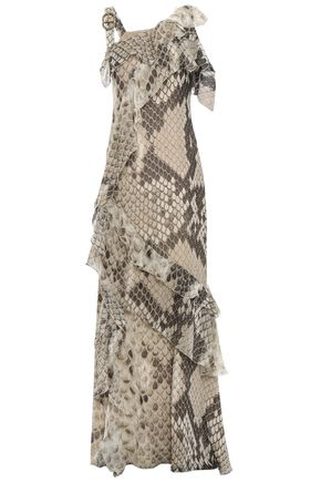 ROBERTO CAVALLI Cutout silk-chiffon maxi dress