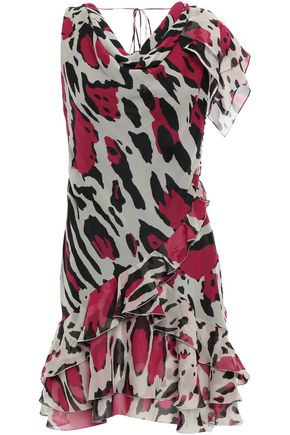ROBERTO CAVALLI Ruffled silk-georgette mini dress