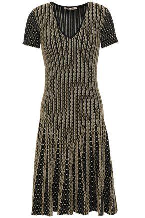 ROBERTO CAVALLI Pleated metallic jacquard-knit dress