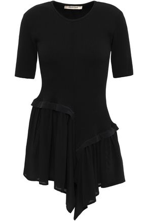 ROBERTO CAVALLI Ribbed-knit and ruffled crepe de chine top