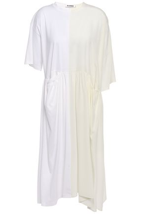 JIL SANDER Gathered cotton-jersey and silk crepe de chine dress