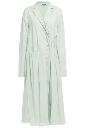 JIL SANDER Paneled cotton-poplin and silk crepe de chine midi dress