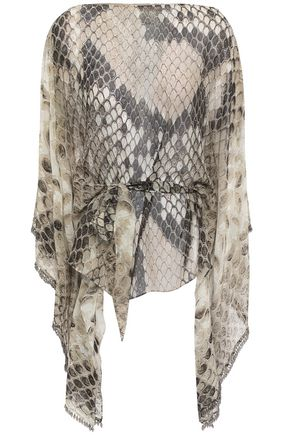 ROBERTO CAVALLI Belted bead-embellished silk-chiffon top