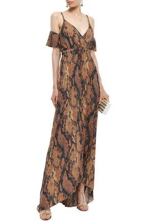 Just Cavalli Woman Cold-Shoulder Snake-Print Plissé-Crepe Gown Animal Print