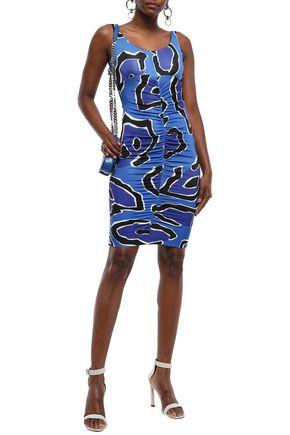 Just Cavalli Woman Ruched Stretch-Jersey Mini Dress Blue