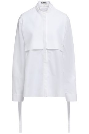 JIL SANDER Paneled cotton-piqué and poplin shirt