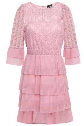 JUST CAVALLI Tiered macramé  lace and crochet-knit mini dress