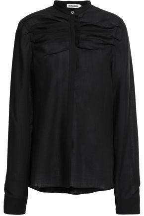 JIL SANDER Ruched wool-gauze shirt