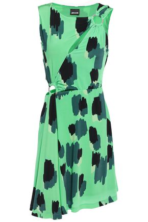 JUST CAVALLI فستان قصير من الجيرسي مع أجزاء مقصوصة مزين بحلقات