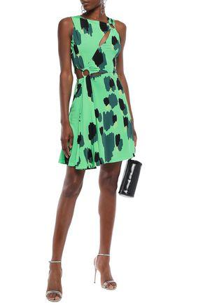 Just Cavalli Woman Ring-Embellished Cutout Printed Jersey Mini Dress Light Green